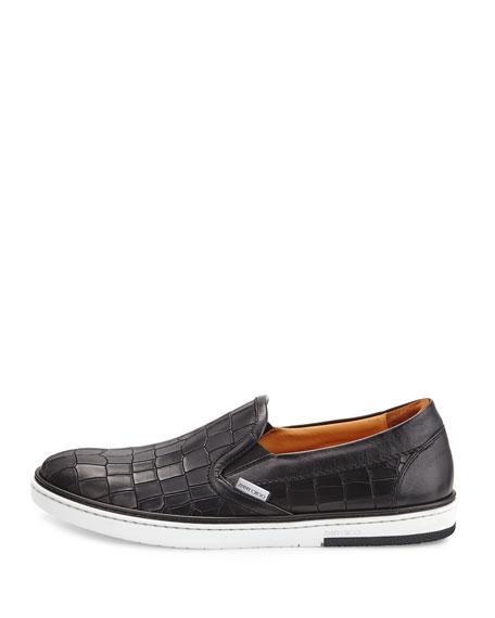Grove Men's Shiny-Stripe Leather Skate Sneaker, Black