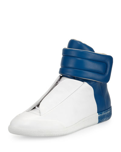 Future Leather High-Top Sneaker, White/Blue