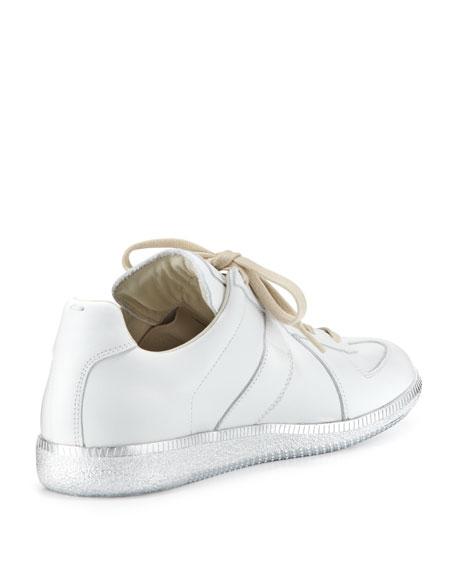 Replica Low-Top Sneaker W/Metallic Sole, White