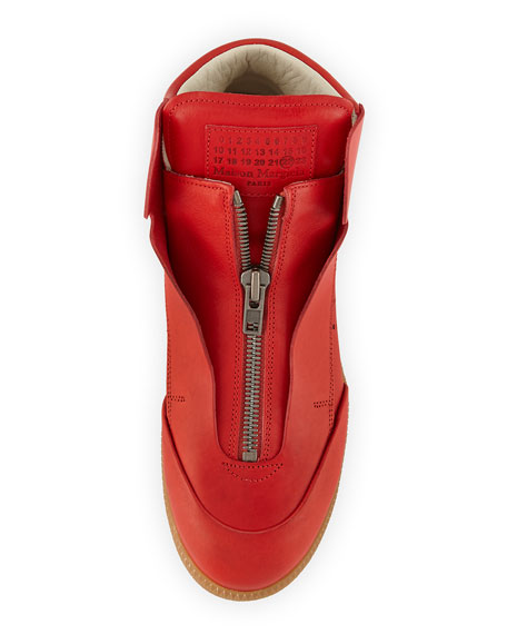 Circuit Perforated Leather High-Top Sneaker, Red