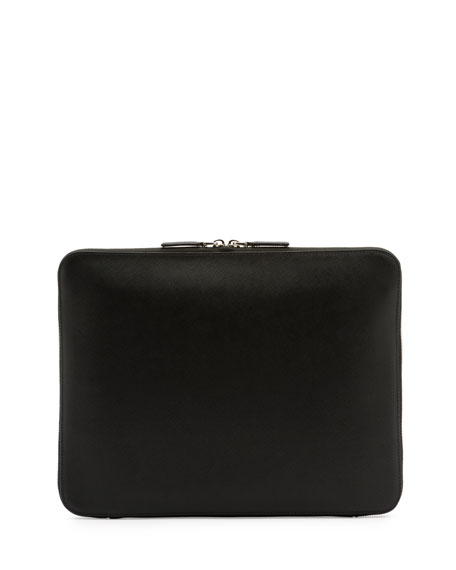 Zip-Around Leather Portfolio Case, Black