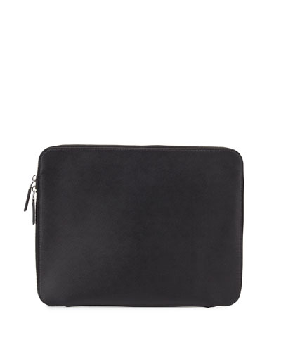 Zip-Around Leather Portfolio Case, Black