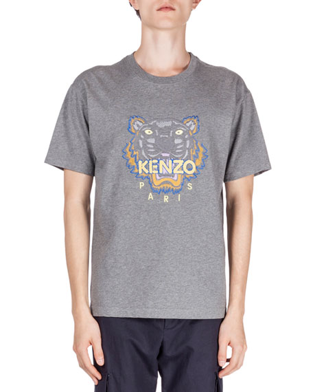 Kenzo Embroidered Tiger Icon Short-Sleeve T-Shirt, Gray
