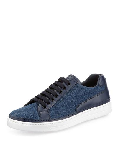 Avenue Denim/Leather Low-Top Sneaker, Blue