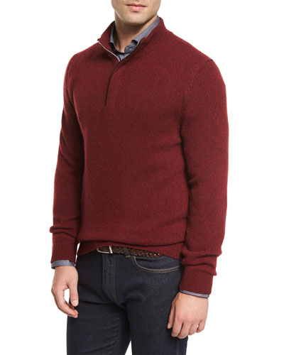 Melange Wool/Cashmere Half-Zip Sweater, Cranberry