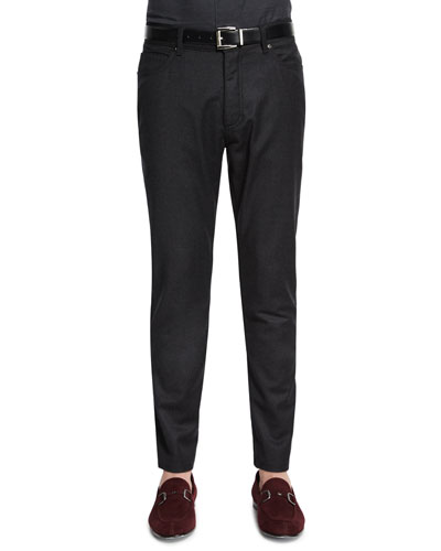 Five-Pocket Stretch-Wool Pants, Brown