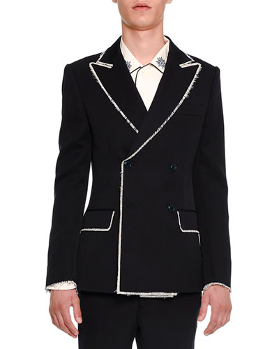 Double-Breasted Blazer with Fringed Edges, Navy