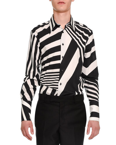 Stripe-Patched Button-Down Shirt, Black/White