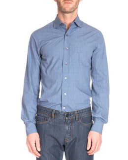Textured Woven Button-Down Shirt, Blue