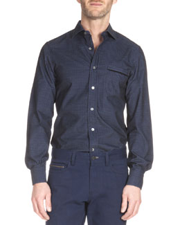 Check-Print Long-Sleeve Sport Shirt, Navy