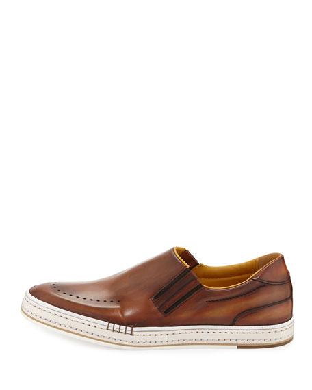 Calf Leather Slip-On Sneaker, Bourbon
