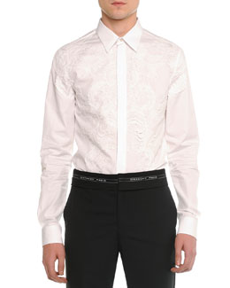Lace-Front Poplin Shirt, White
