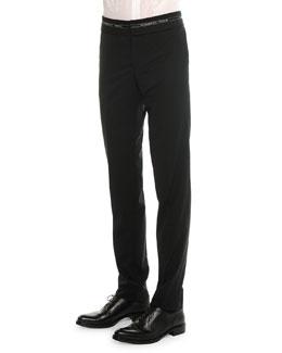 Logo-Waist Wool Trousers, Black