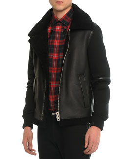 Shearling Fur & Neoprene Zip-Up Jacket, Black