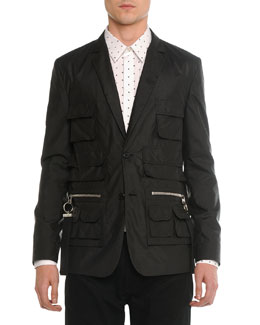 Utility-Pocket Nylon Blazer, Black
