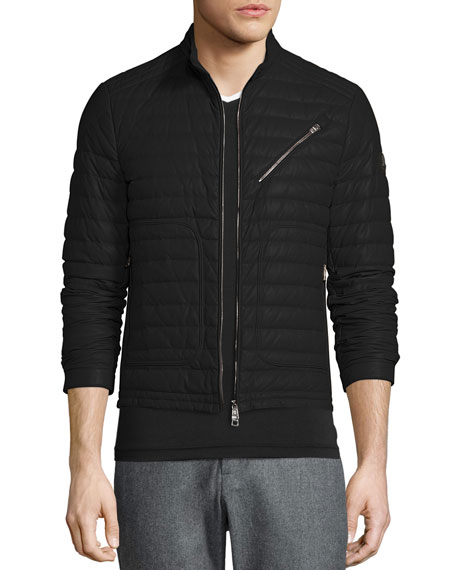 Casteu Quilted Leather Moto Jacket, Black