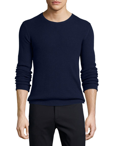 ATM Waffle-Stitch Knit Crewneck Sweater, Navy