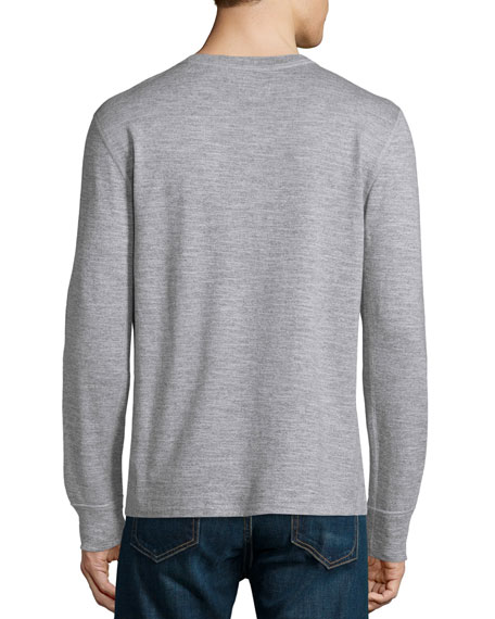 Standard Issue Basic Long-Sleeve Henley Shirt, Gray