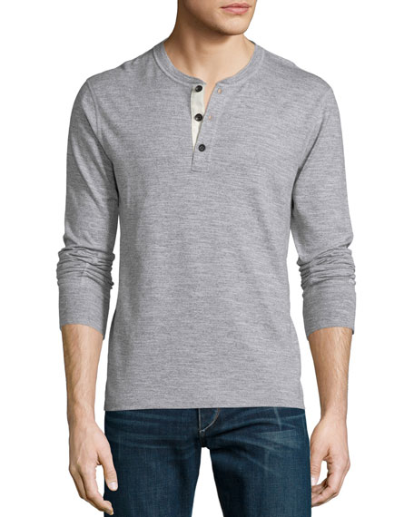 Standard Issue Basic Long-Sleeve Henley Shirt, Gray
