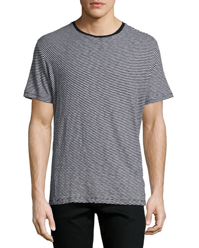 Rupert Striped Short-Sleeve Tee, Light Gray