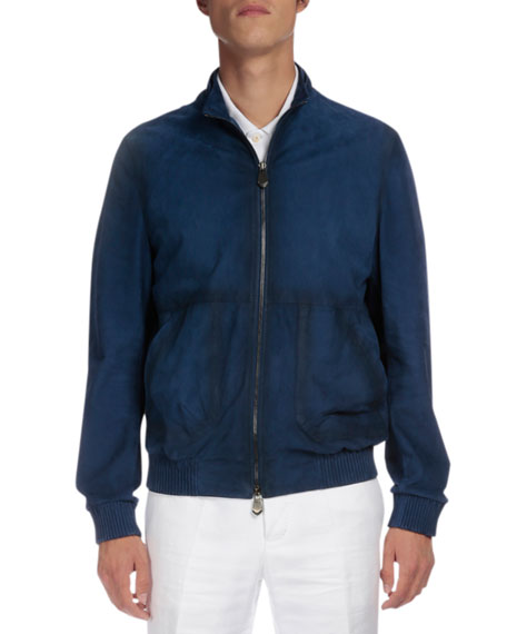 Packable Hooded Leather Jacket, Metallic Blue