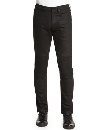 Blackrod Slim-Stretch Jeans with Knee Panels, Black