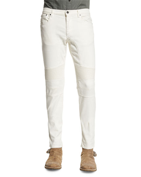 Eastham Slim-Fit Moto Jeans, Natural White
