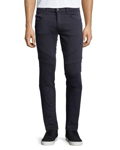 Bearden Skinny-Leg Moto Jeans, Storm Blue