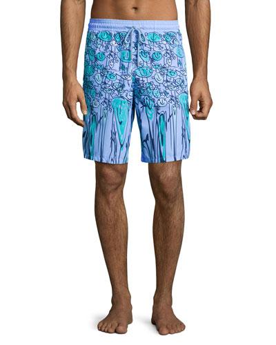 Okoa Happy-Face Printed Boardshorts, Blue