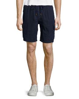 Solid Linen Cargo Shorts, Bleu Marine