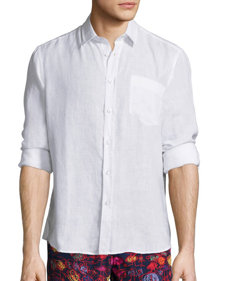 Vilebrequin Linen Long-Sleeve Shirt, White