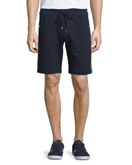 Side-Stripe Cotton Sweat Shorts, Navy
