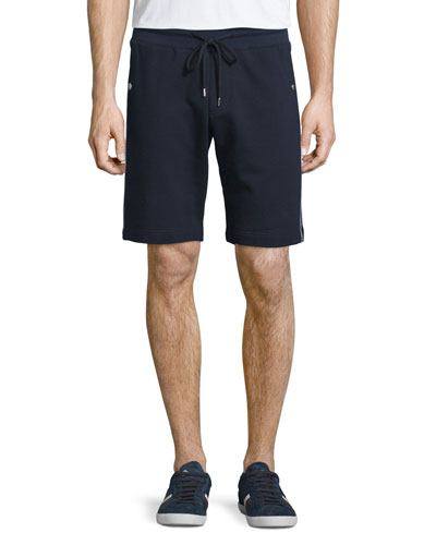 Side-Stripe Cotton Sweat Shorts, Navy