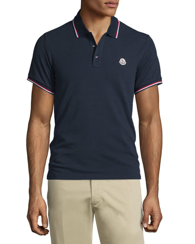 Navy-Tipped Short-Sleeve Pique Polo Shirt, Navy
