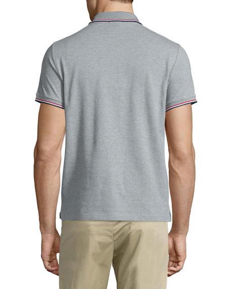 Gray-Tipped Short-Sleeve Pique Polo, Gray