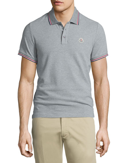 Gray-Tipped Short-Sleeve Pique Polo, Gray