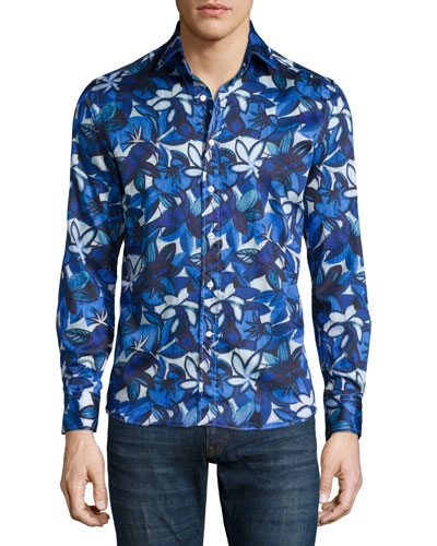 Large Floral-Print Sport Shirt, Blue/White