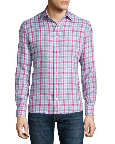 Check Long-Sleeve Linen Sport Shirt, Pink/Gray/Lavender