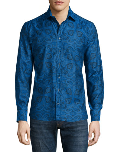 Paisley-Print Long-Sleeve Shirt, Blue