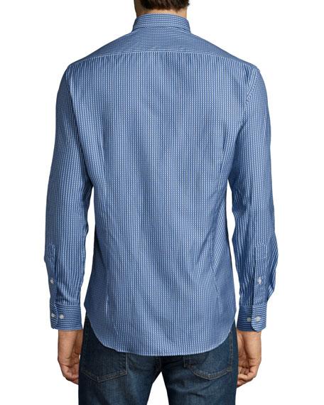 Micro-Pattern Long-Sleeve Sport Shirt, Blue
