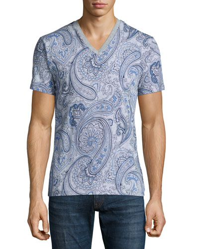 Paisley-Print V-Neck Tee, Gray/Blue