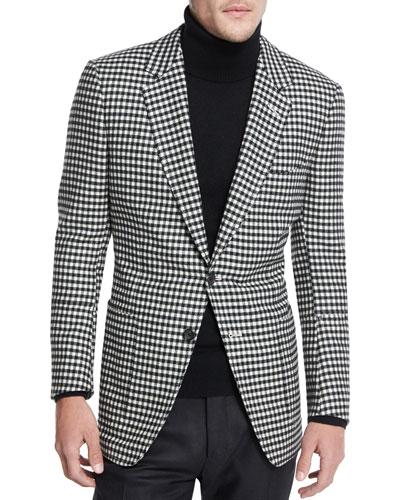 Buckley Base Large-Gingham Sport Coat, Black/White