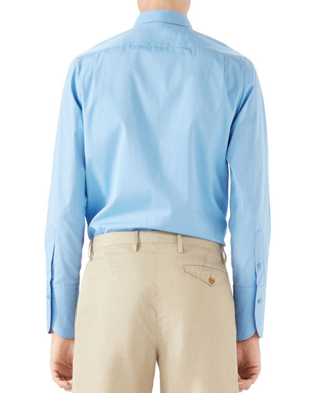 Piece Dyed Button-Front Shirt, Azure