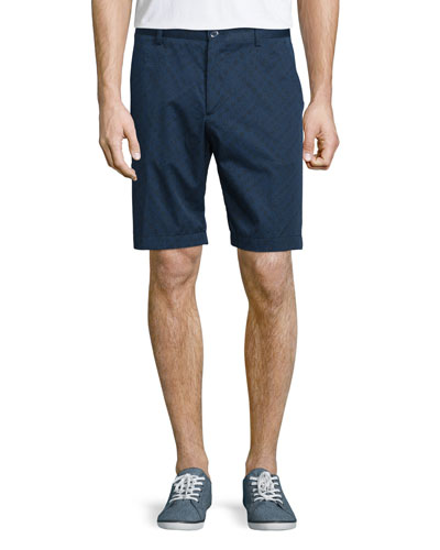 Tonal Patterned Flat-Front Shorts, Navy