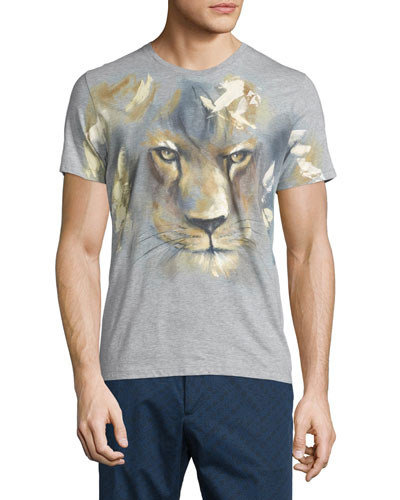 Lion-Face Print Short-Sleeve T-Shirt, Gray