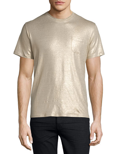 Shiny Metallic Short-Sleeve T-Shirt, Gold