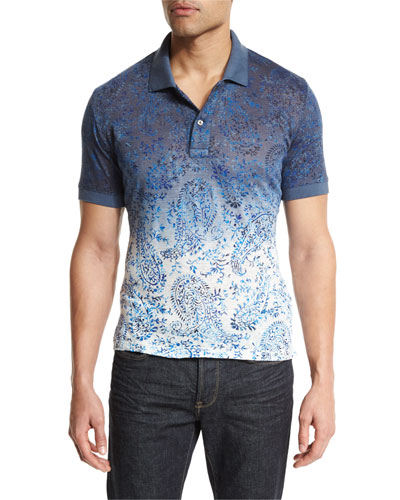 Ombre Paisley-Print Short-Sleeve Polo Shirt, Blue