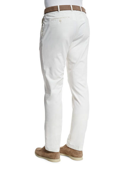 Comfort Slim-Stretch Cotton Trousers, Optical White