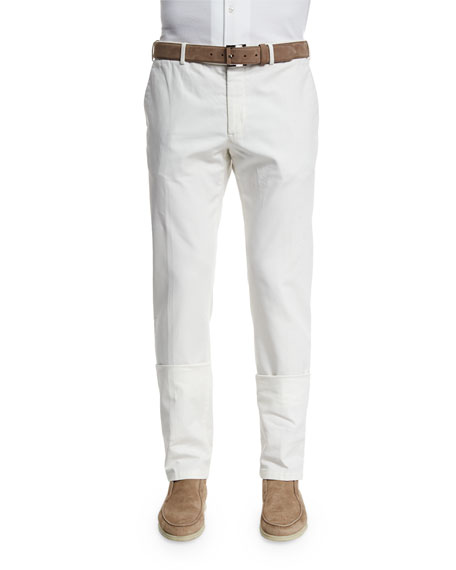 Loro Piana Comfort Slim-Stretch Cotton Trousers, Optical White