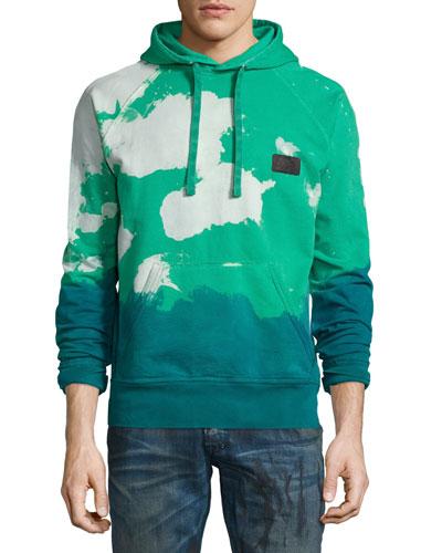 Tie-Dye Hooded Sweatshirt, Green/White